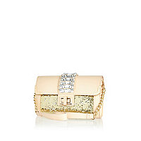 Beige jewelled underarm bag
