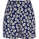 Blue daisy print high waisted shorts