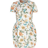 Light grey floral print tulip dress