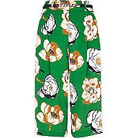 Green floral print culottes