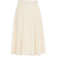 Cream eyelash knit full midi skirt