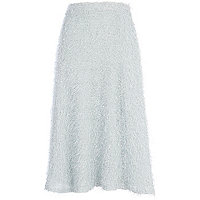 Light grey eyelash knit full midi skirt