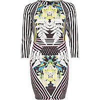Black abstract floral stripe bodycon dress