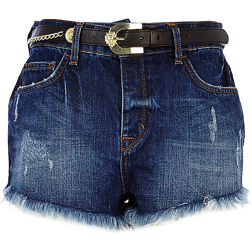 Dark wash belted high waisted denim shorts