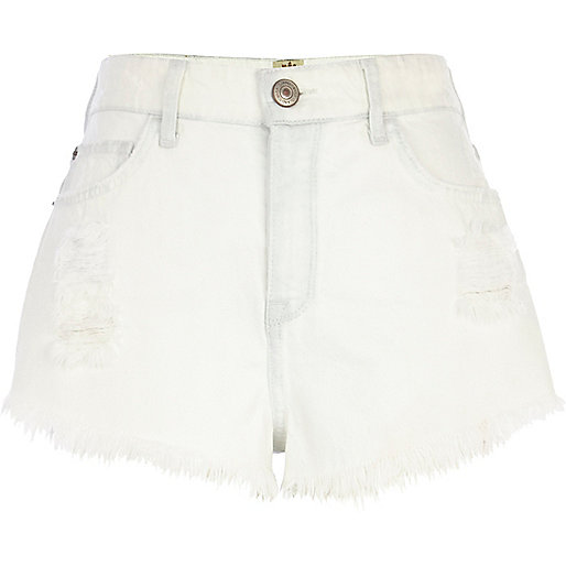Bleached denim ripped high waisted shorts