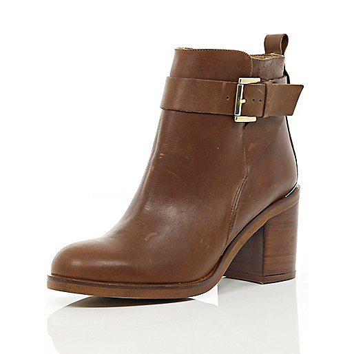 Brown block heel ankle boots