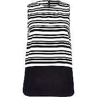 Black and white stripe layered tank top