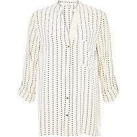 Cream spotty stripe print roll sleeve shirt