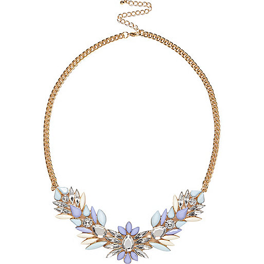 Pale blue gem stone statement necklace