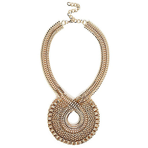 Gold tone retro twist statement necklace