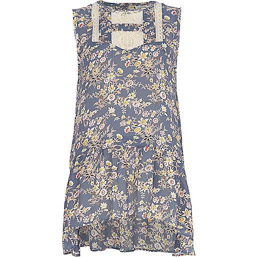 Blue floral print tunic