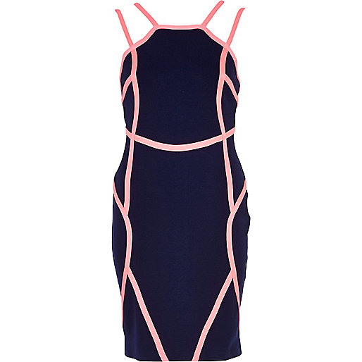 Navy contrast binding strappy bodycon dress