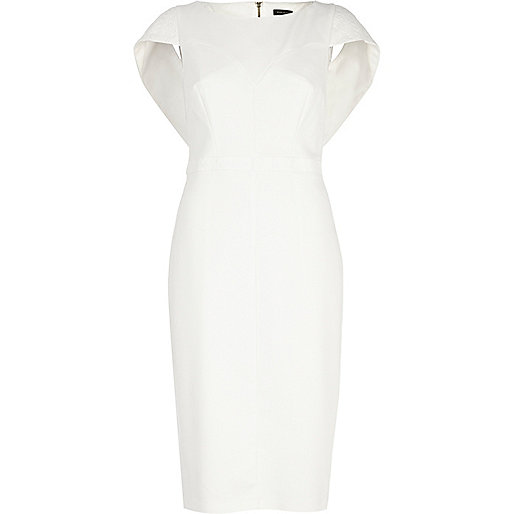 White cape sleeve pencil dress