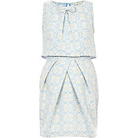 Light blue jacquard bow front tulip dress
