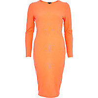 Orange diamond textured column dress