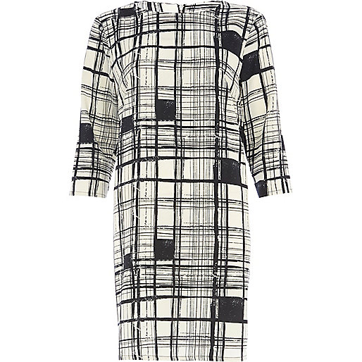 Black and white check print sack dress