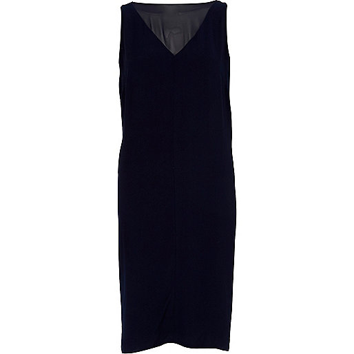 Navy cowl back satin sleeveless dress