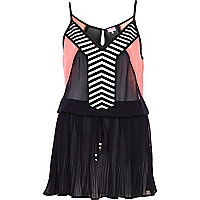 Black geometric panel pleated cami dress