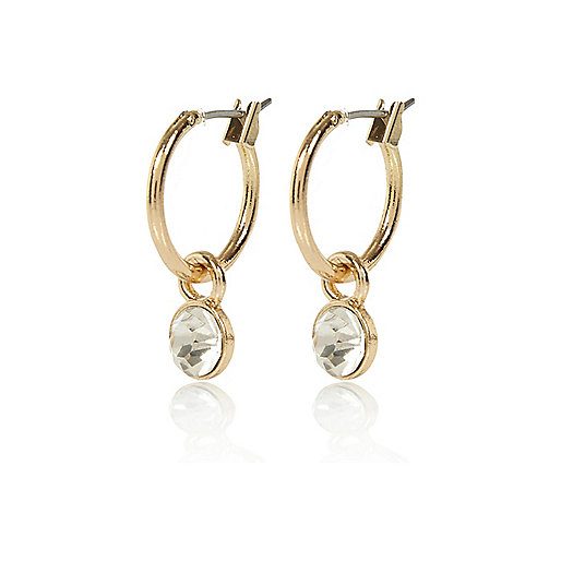 Gold tone gem drop hoop earrings
