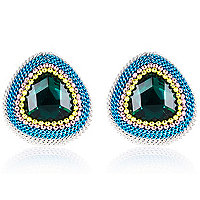 Blue chunky chain and gem stone stud earrings
