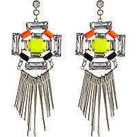 Fluro gem stone dangle earrings