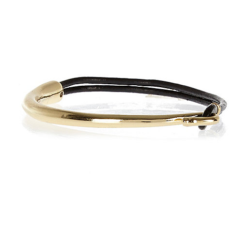 Black waxed leather metal plate bracelet
