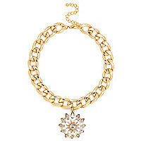 Gold tone cluster pendant curb chain necklace