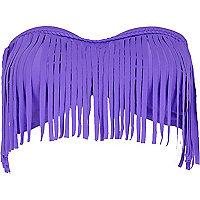 Purple fringed bandeau bikini top