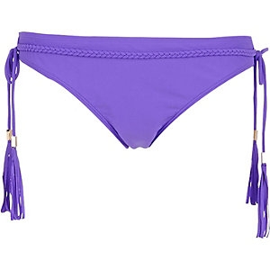 Purple fringed trim bikini bottoms