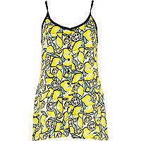 Yellow lemon print cami playsuit