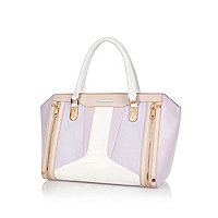 Light purple colour block structured tote bag