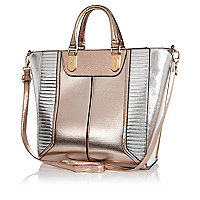 Rose gold metallic colour block tote bag