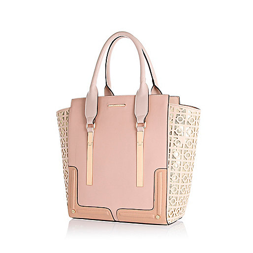 Light pink metallic laser cut tote bag