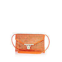 Orange laser cut clutch bag