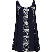 Navy lace insert swing tunic