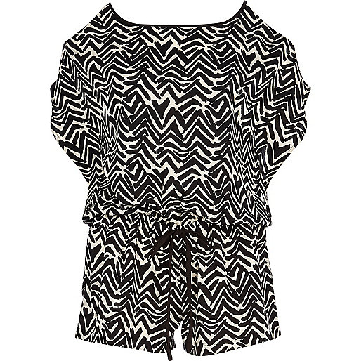 Black zig zag print cold shoulder playsuit