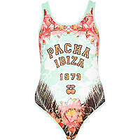 Green Pacha Ibiza graphic print swimsuit