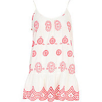 White Pacha embroidered drop waist dress