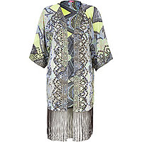 Blue abstract print embroidered kimono