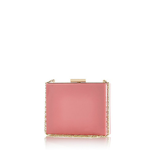 Pink box clutch bag