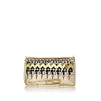 Gold embellished clutch bag