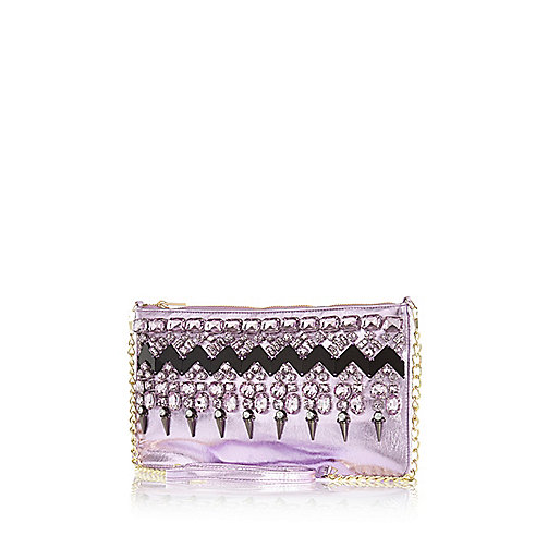 Purple metallic embellished clutch bag