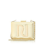 Gold tone RI metal box clutch bag