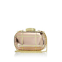Gold tone caged metal box clutch bag