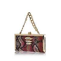 Red snake curb chain handle box clutch bag