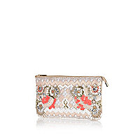 Light pink beaded clutch bag