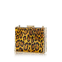 Brown animal print box clutch bag