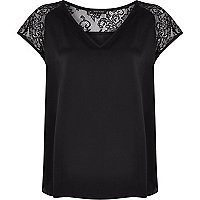 Black lace insert V neck woven t-shirt