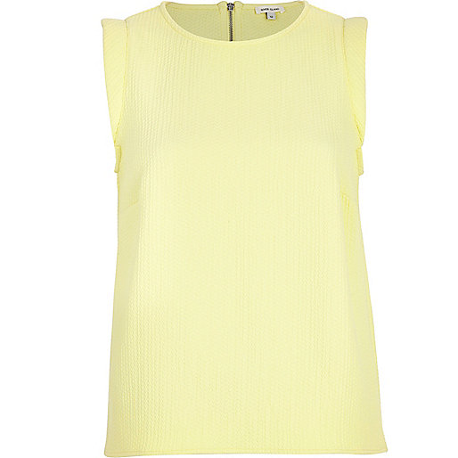 Yellow padded shoulder tank top