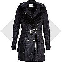 Black leather-look faux fur collar biker coat